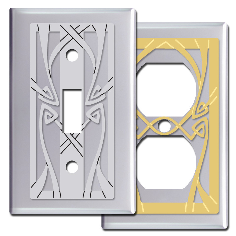 Art nouveau pattern switch plates in polished chrome kyle design - Art deco switch plate covers ...