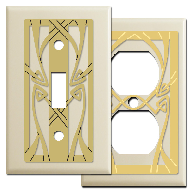 Art nouveau light switch plates in ivory kyle design - Art deco switch plate covers ...