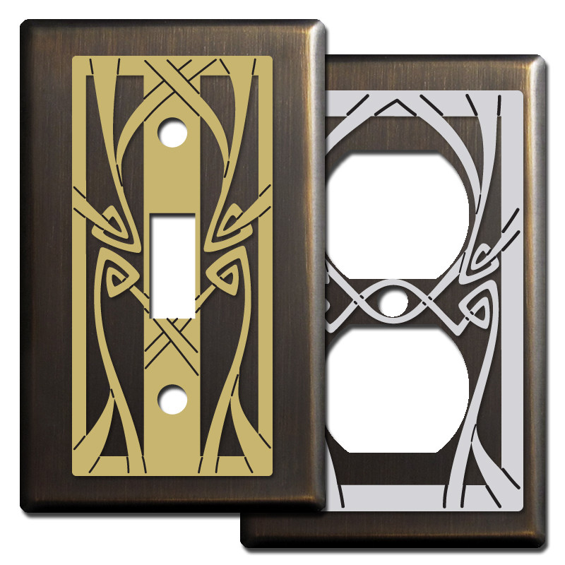 Art Nouveau Light Switch Covers In Bronze Kyle Design