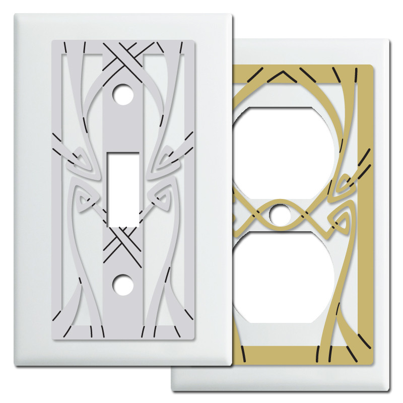 Art nouveau light switchplates in white kyle design - Art deco switch plate covers ...