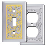 Chrome Switch Plate Covers with Butterflies
