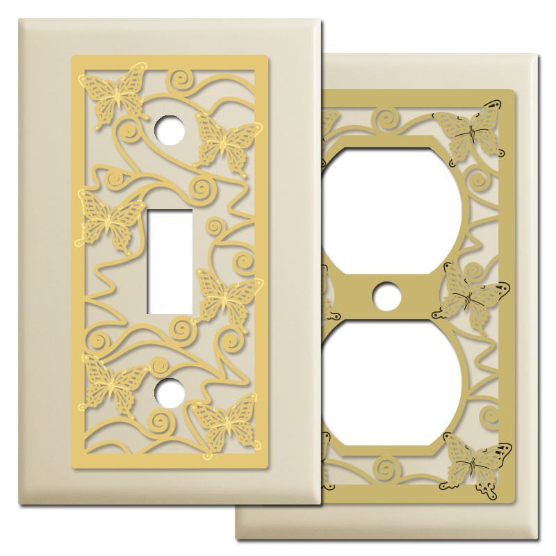 butterfly pattern wall plate covers in ivory kyle design. Black Bedroom Furniture Sets. Home Design Ideas