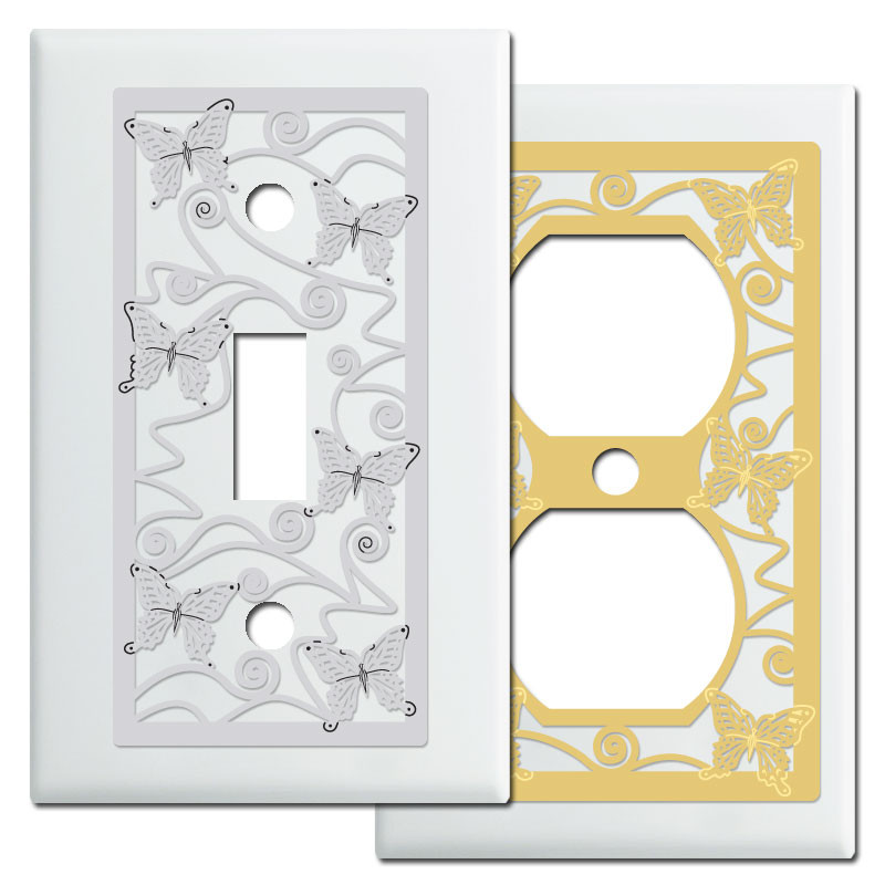 Butterflies decorative light switch plates in white kyle for Unique light switch plates