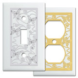 Wall Switch Plates with Butterflies in White