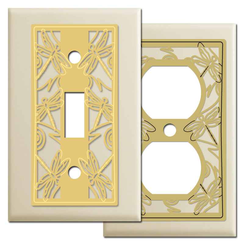 Dragonflies light switch wall plates in ivory kyle design - Wall switch plates decorative ...