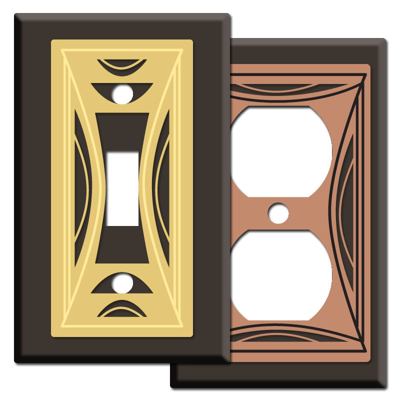 Modern Milano Wall Switch Plates in Brown Kyle Design