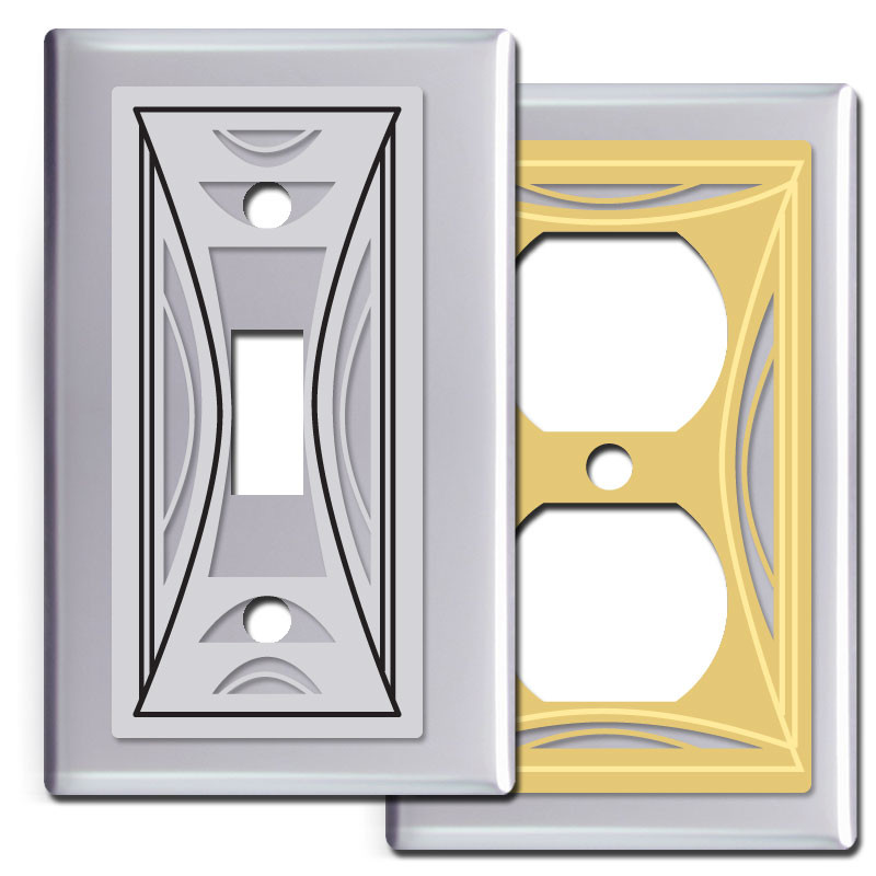 Milano Modern Light Switchplates in Polished Chrome Kyle