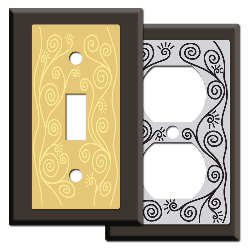 Vines Spirals Light Switch Plates In Brown Kyle Design