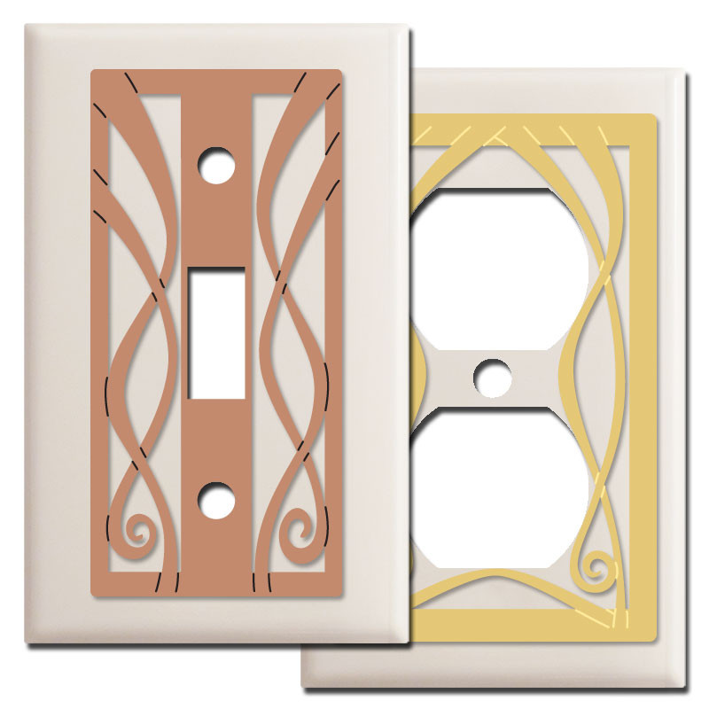 Ribbons Decorative Switch Plate Covers In Light Almond