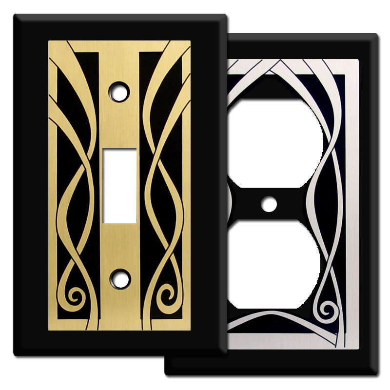 Ribbon decorative wall plate covers in black kyle design - Wall switch plates decorative ...