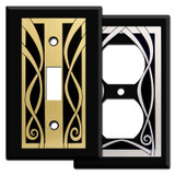Blacl Ribbon Swirls Decorative Switch Plate Covers