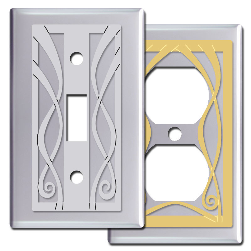 Ribbon decorative switch plates in polished chrome kyle Light switch plates decorative