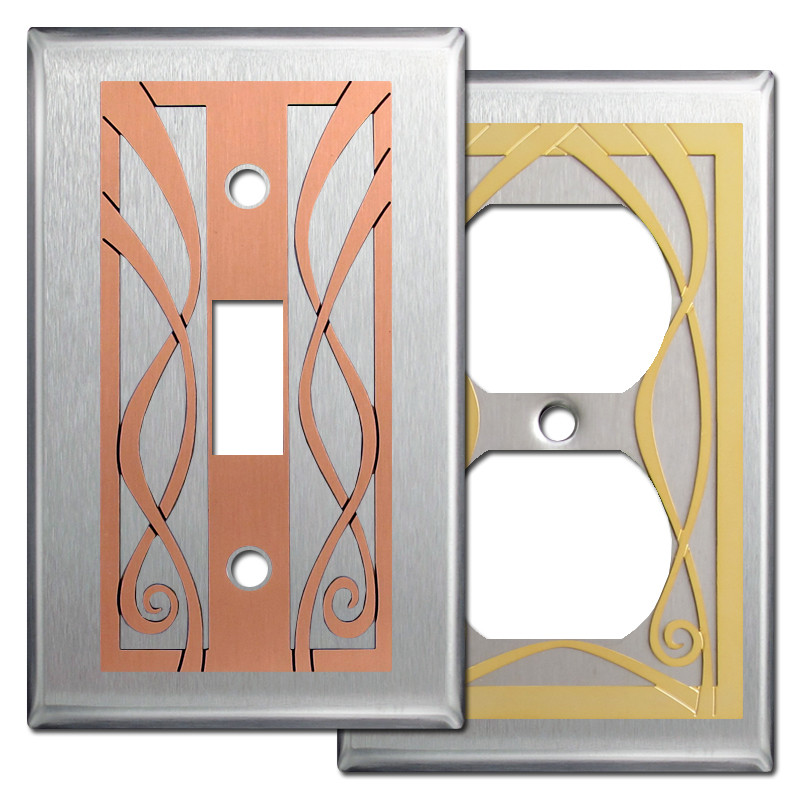 Ribbons Decorative Wall Switch Plates In Stainless Steel