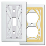White Switch Plates with Ribbon Swirl Design