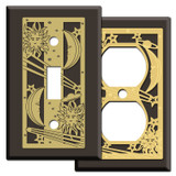 Brown Celestial Light Switch Plates