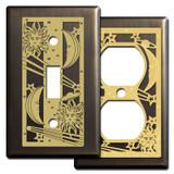 Celestial Light Switch Plates in Bronze
