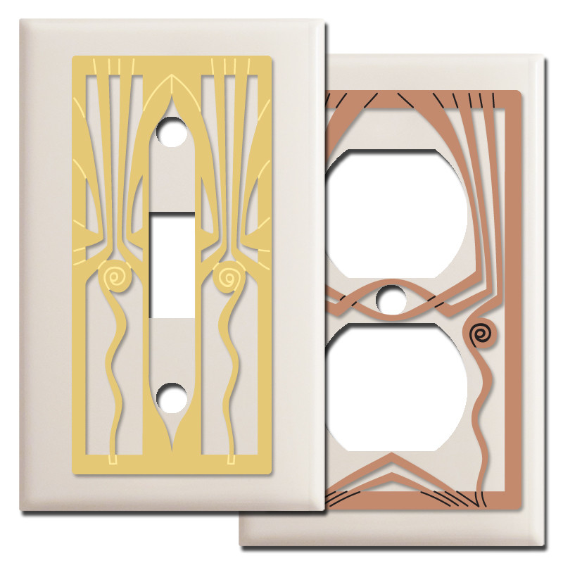 Retro Art Deco Light Switchplates In Almond Kyle Design