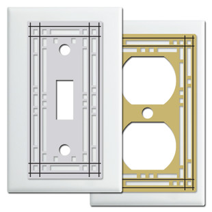 White Mission Style Switch Plates & Outlet Covers