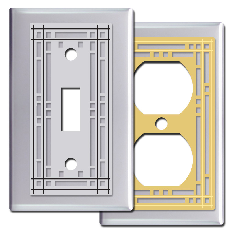 mission bungalow light switch covers in chrome kyle design. Black Bedroom Furniture Sets. Home Design Ideas