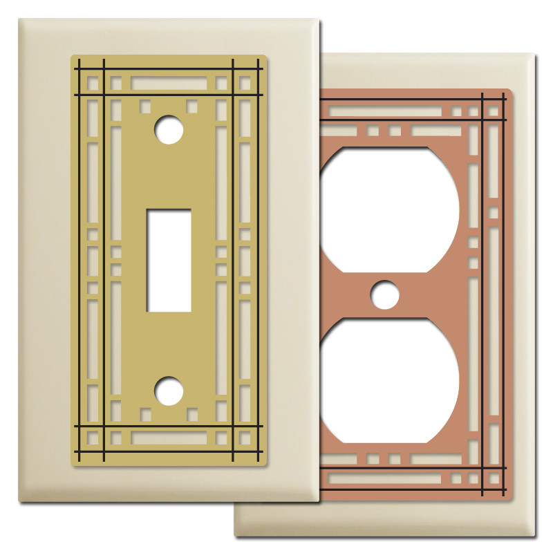 mission style wall switch plates in ivory kyle design. Black Bedroom Furniture Sets. Home Design Ideas