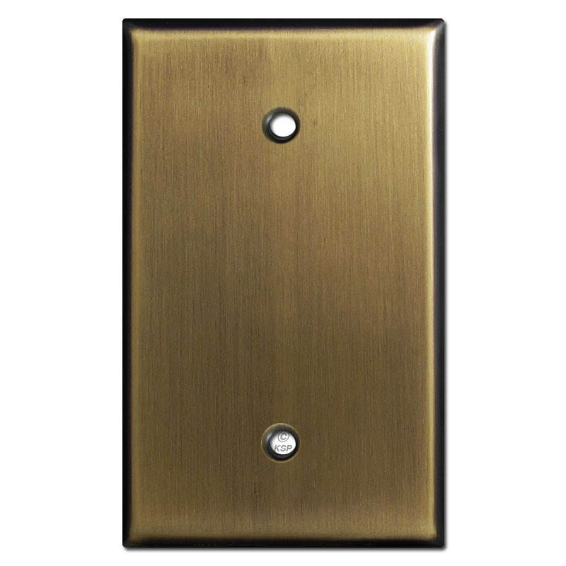 Single Blank Oversized Light Switch Plates Antique Brass