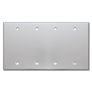 4 blank wall switch plate covers brushed aluminum for Four blank walls