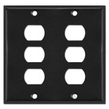 Two Gang 6 Despard Light Switch Plate Covers - Black