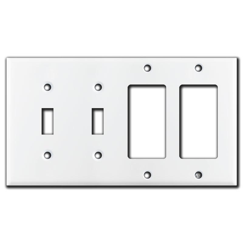 2 Toggle Amp 2 Decora Rocker Switch 4 Gang Wall Plate White
