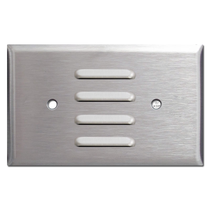 Wall Plate Light Cover : Horizontal Louver Wall Plate Light Cover - Satin Stainless Steel - Kyle Switch Plates