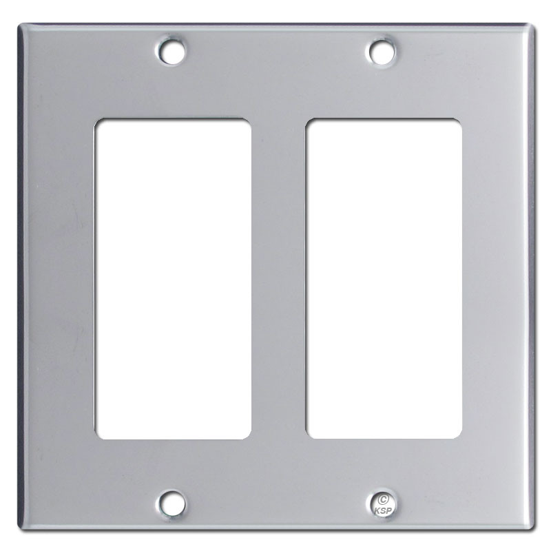 Double Rocker Switch Plate Cover Polished Chrome on electrical outlets and switch plates
