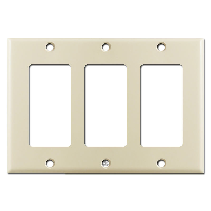 3 gfci decora rocker light switch plate covers ivory for Decora light switches