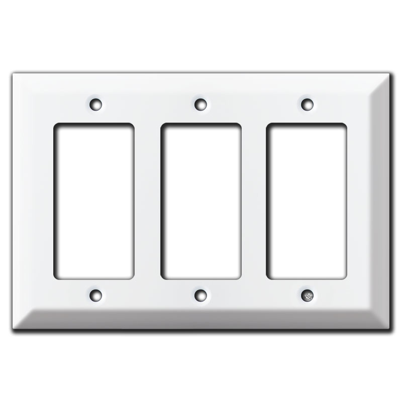 Deep 3 gfci decora rocker light switch plate cover white for Decora light switches