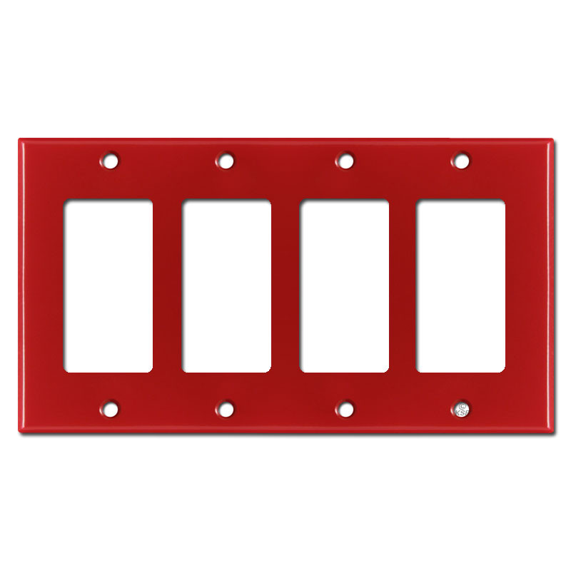 4 Gang Four Decora Rocker Light Switch Covers Red Kyle