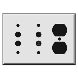 Combination Two Pushbutton and Duplex Outlet Wall Switch Plates