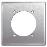 "2.625"" Opening High Amp Power Outlet Cover Plate - Stainless Steel"