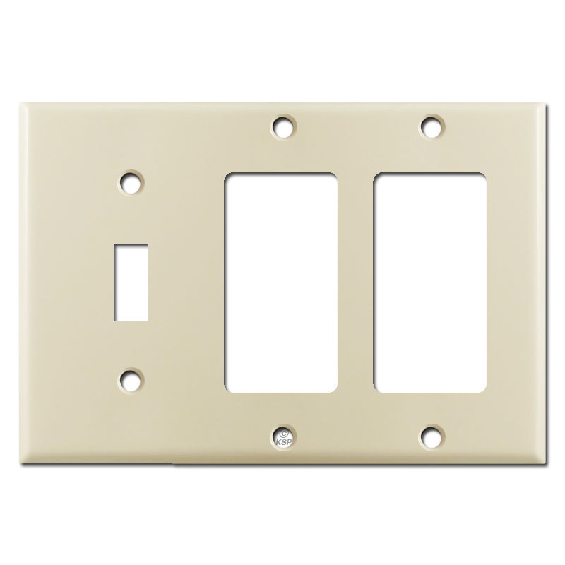 3 gang 1 toggle 2 decora switch plate ivory kyle switch plates. Black Bedroom Furniture Sets. Home Design Ideas