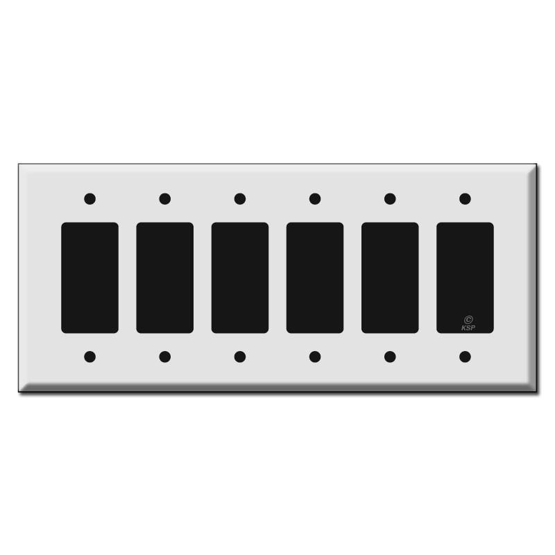 Jumbo 6 Gang Rocker Switch Plate Kyle Switch Plates