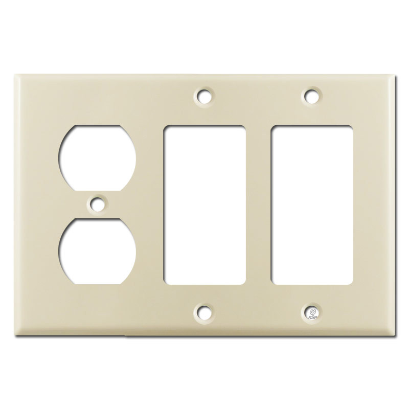 1 Duplex Outlet Amp 2 Rocker Combo Switch Plate Cover Ivory
