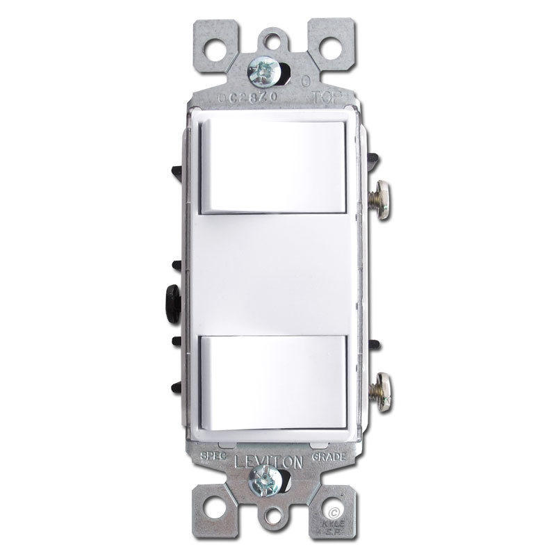White dual decora rocker switches leviton 1754 2w kyle for Decora light switches