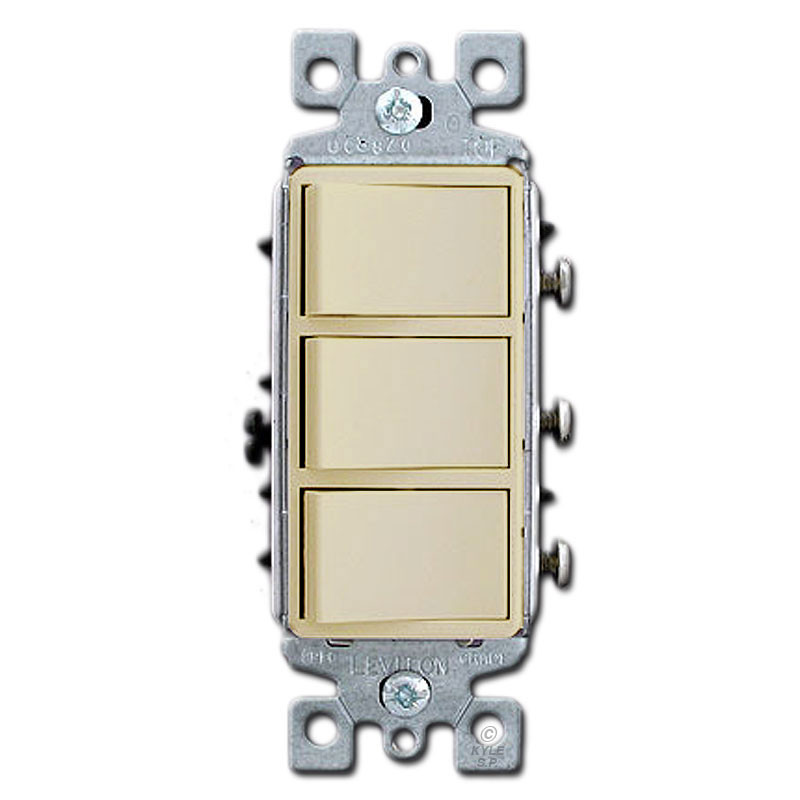 Ivory combo three decora rocker light switches kyle for Decora light switches