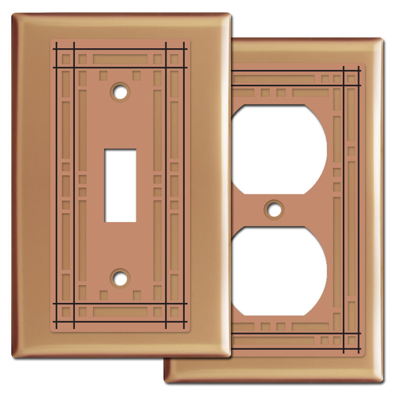 mission style wall switch plates in copper kyle design. Black Bedroom Furniture Sets. Home Design Ideas