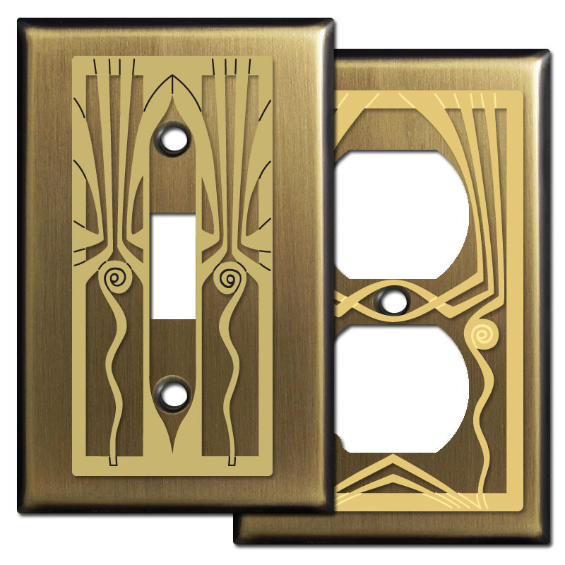 Retro art deco period switch plates in antique brass kyle design - Art deco switch plate covers ...