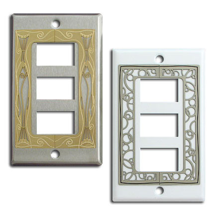 decorative ge old low voltage three switch plate covers. Black Bedroom Furniture Sets. Home Design Ideas