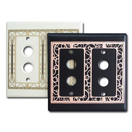 decorative double push button light switch plate kyle. Black Bedroom Furniture Sets. Home Design Ideas