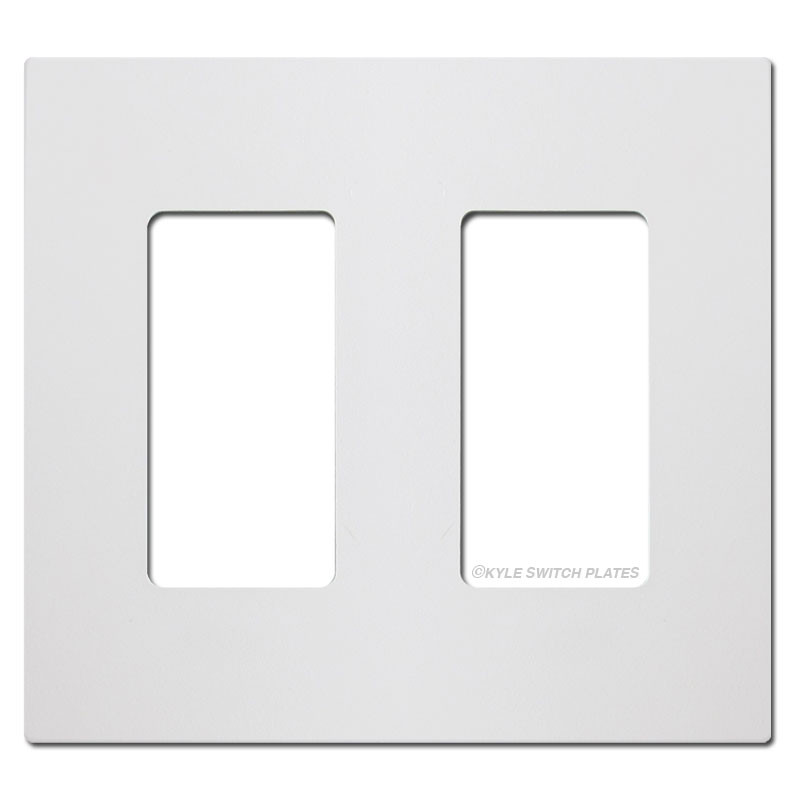 Screwless 2 Gang Decora Rocker Light Switch Plate White