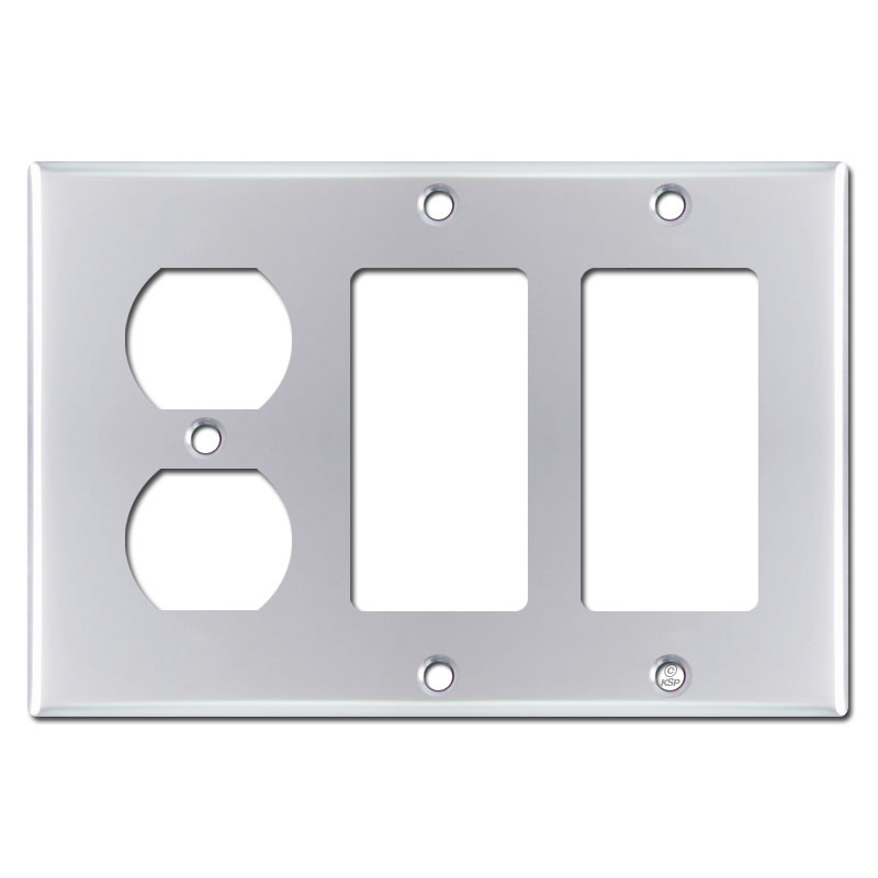2 Decora 1 Duplex Outlet Cover Wall Plate Polished Chrome