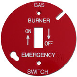 "Red 3.5"" Round Toggle Gas Burner Control Switch Cover #027"