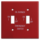 Red Double Toggle Emergency Oil Burner Switch Plate Covers #002