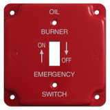 Red Emergency Centered Toggle Oil Burner Utility Box Switch Plate #006