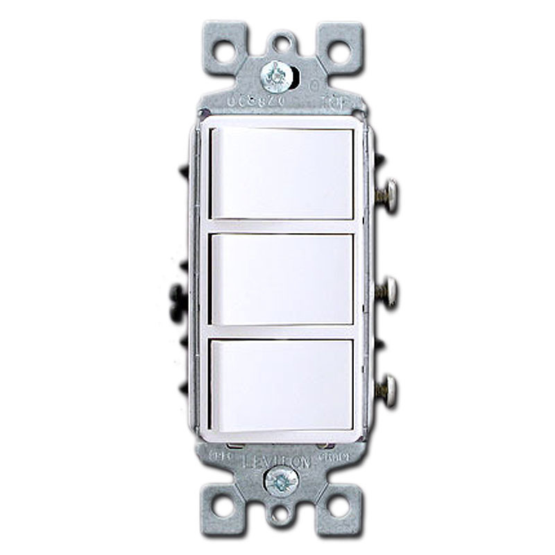 White triple stacked combination decora rocker switch for Decora light switches